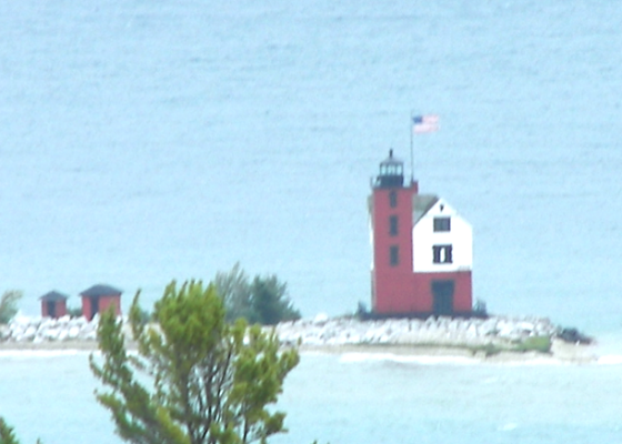 Round Island Lighthouse shines in Lake Huron